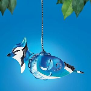 Solar Lighted Hanging Metal Blue Jay Glass Gazing Ball Garden Sculpture Dangler