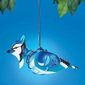 Solar Lighted Hanging Metal Blue Jay Glass Gazing Ball Garden Sculpture Dangler