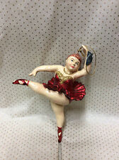 * Anhänger Set 2 Ballerina Rot Glitzer Weihnachten Christbaumschmuck Poly Bunt