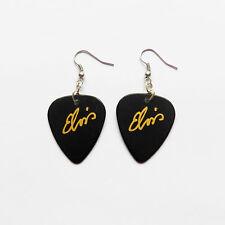 Famous guitar pick plectrum pick earrings Black & Gold print Elvis