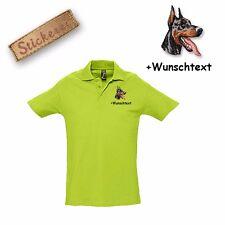 Camiseta Polo Algodón Bordado Perro Doberman 1 + Texto personalizado