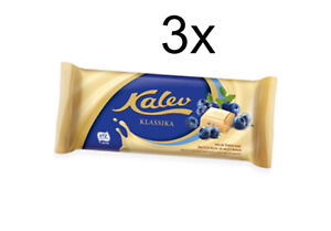 Kalev White Chocolate Bars with Rice Crisps&Blueberry 95g (Pack of 3)