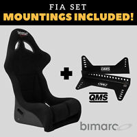 Bimarco Futura FIA Racing Seat BLACK VELOUR Set with Bracket Mountings Included!