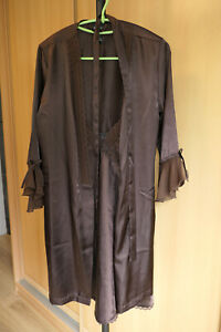 WOMENS 2 PC SIZE S (4-6) SHORT BROWN SATIN WRAP ROBE & CHEMISE