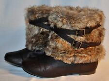 CANDIES CADIORA Brown Faux Fur Leather Buckle Ankle Boots - Girls Size: 5MED