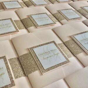 Pocketfold | Champagne | Glitter | Blush | Pink | Belly Band | Wedding Invite