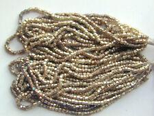 Vintage Golden Satin Luminous Shimmery 2 Cut Beads Long Hank 6bpi Jewelry Design
