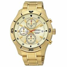 Seiko Men's Gold Plated Strap Wristwatches