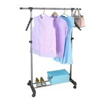 Adjustable Rolling Garment Rack Heavy Duty Clothes Hanger Single Bar Rail Shelf