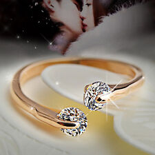 Korean Simple Elegant Opening 2Rhinestone Rose Gold Crystal Wedding Ring Gifts