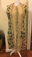 Vtg 60's Directions from Magelli Wool Embroidered Caftan India Textile Art ivory