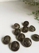 10 Pcs Sewing Shank Buttons Round Antique Bronze Horse Head Carved 15mm Dia (6)