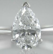 Diamond Solitaire and Platinum Ring 1.45ct Certificated E VVS1 VG Pear-shape