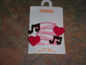 NWT, 4-Pack Gymboree Hair Clips w/ Music Notes & Hearts, Play by Heart