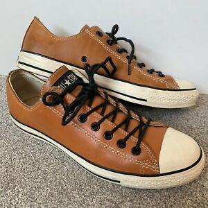 Converse CT All Star Men's TAN/Brown Leather & Black/White Low Ox 10/44