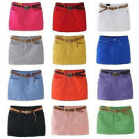 Summer Fashion Women's Candy Colors Sexy Mini Denim Skirt Clubwear Wrapped Skirt