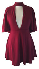 Women's ASOS Red Cut Out Detail Shoulder Drape Button Neck Skater Dress  Size 10