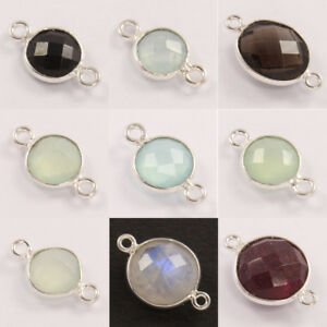 Multi Checker Faceted Gemstones 925 Silver Choose From Drop Down Connectors