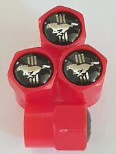 Mustang Negro Top Rojo Plástico Válvula de Rueda de Aleación Polvo Tapas todos los modelos Antiadherente