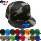 Premium Solid Fitted Cap Baseball Cap Hat, Flat Bill / Brim NEW