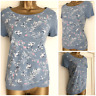 NEW EX PER UNA AT M&S BLUE PINK WHITE FLORAL FRONT BIRD PRINT TOP SIZE 6 - 20