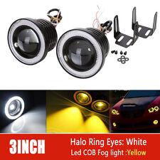2X 3inch 76mm COB Yellow LED Projector Fog Light w/ White Angel Eye DRL 4X4 ATV