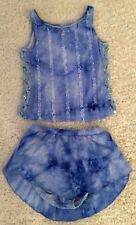 Two Piece Blue Swarovksi Figure Skating Dress - Ladies Xs/Small/Child Xl