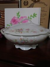 MZ Austria Oval Covered Vegetable Bowl Unknown # 6900 Pattern Pink Flowers