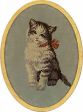 More details for early 20th century embroidery - cross stitch kitten