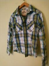 Fantastic Tartan Hollister Cowboy Cotton Shirt Sz S Aqua blue green swimmer