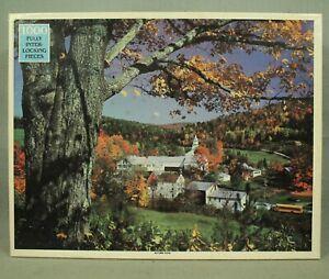 vintage Rainbow works Autumn Vista 1000 piece jigsaw puzzle buildings trees bus