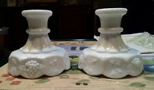 Vintage Pair WESTMORELAND White MILK GLASS PANELED GRAPE Candle Holders, VG