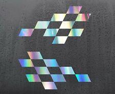 2x Chequered holographic vinyl stickers graphics decals car racing dirt bike van