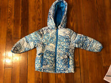 Snozu Toddler Girls Down Hooded Winter Jacket Blue / White Size 2T