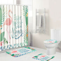 4Pcs/Set Shower Curtain+Anti-Slip Bathroom Toilet Rug+Lid Toilet Cover+Bath Mat