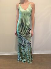 Roberto Cavalli Silk Green Printed Dress
