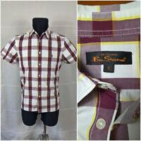 "Ben Sherman Small (14.5""/37cm) Mens Check Shirt Short Sleeve Cotton Casual [SD]"