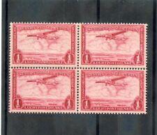 BELGIAN CONGO Sc C8(MI 148)**F-VF NH 1934 1F CARMINE, AIRMAIL, BLOCK OF FOUR $12