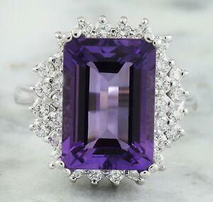 7.37 Carat Natural Amethyst 14K Solid White Gold Luxury Diamond Ring