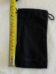 CHANEL Glasses Bag - GENUINE - Drawstring, Black With Designer Name On Front