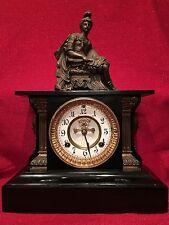 Rare Waterbury Clock Co. Cast Iron Mantle Statue Clock Fancy Devil Masks 1881
