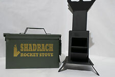 Portable Rocket Stove Cooking Hand Made USA without AMMO CAN *Free Grill*