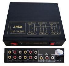 4 Way Audio Video AMP Splitter RCA 1 Input & 4 Output