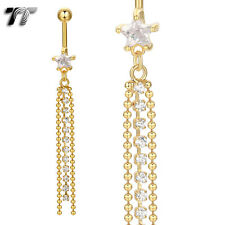 TT 14K Gold GP CZ Star Long Dazzling Dangle Belly Bar Ring (BL15)