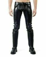 Men's Real Black Leather Pants Double Zip Jeans Gay Cowhide BLUF Soft Trousers
