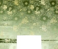 Fabric Silk Brocade Olive and colour Gold Floral -by half yard-
