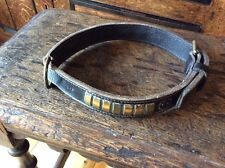 "Antique Leather And Brass Large Dog Collar 26"" Vintage"