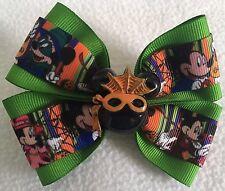 "Girls Hair Bow 4"" Wide Mickey Minnie Halloween Green Flatback Alligator Clip"