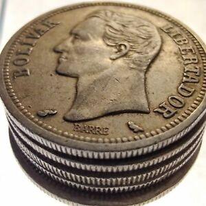 [Lot of 5] Venezuela 1 Bolívar (Simón Bolívar) 1960-1965 Silver