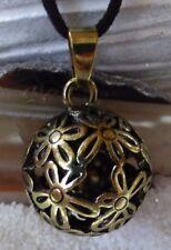 Blume des Lebens großer Kugel Anhänger Kette Alt Gold Flower of Life mit Glocke